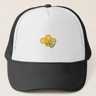 Honeycomb with a cute honeybee trucker hat