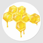 Honeycomb with dripping honey round stickers