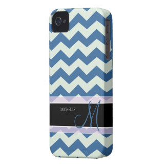 Honeydew Green and Blue Chevron Pattern iPhone 4 Cover