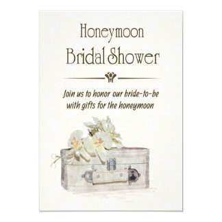 Honeymoon Bridal Shower with Travel Bag 5x7 Paper Invitation Card