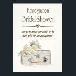 """Honeymoon Bridal Shower with Travel Bag Invitation<br><div class=""""desc"""">A bridal shower to give the bride gifts for the honeymoon invitation. A watercolor suitcase with lilies on top of it with a textured yellow background is a perfect card to send to invite the bride's guests for her special day. Design © 2015 Julia Bryant.</div>"""