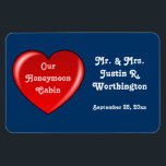 """Honeymoon Cabin Blue Cruise Door Marker Magnet<br><div class=""""desc"""">Honeymoon Cabin Door Marker - dark blue background.  Personalize it!     Great idea for a bon voyage gift,  too!</div>"""