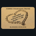 """Honeymoon Cruise Cabin Door Marker Heart on Beach Magnet<br><div class=""""desc"""">This honeymoon cruise ship vacation stateroom marker magnet is completely personalized with the group cruise name, ship itinerary details, including the cruise ship name and sailing dates. Personalized newlywed names at bottom. Against a romantic photo of a sandy beach with a heart drawn in the sand. Completely customizable for any...</div>"""