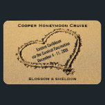 "Honeymoon Cruise Cabin Door Marker Heart on Beach Magnet<br><div class=""desc"">This honeymoon cruise ship vacation stateroom marker magnet is completely personalized with the group cruise name, ship itinerary details, including the cruise ship name and sailing dates. Personalized newlywed names at bottom. Against a romantic photo of a sandy beach with a heart drawn in the sand. Completely customizable for any...</div>"