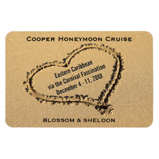 Honeymoon Cruise Cabin Door Marker Heart on Beach Magnet