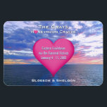 """Honeymoon Cruise Heart Stateroom Door Ocean Sunset Magnet<br><div class=""""desc"""">This sweet honeymoon cruise cabin door marker magnet is completely personalized with the bride and groom&#39;s last name, ship itinerary details, including the cruise ship name and sailing dates imprinted on a cute, pink heart. Personalized names at bottom. Against a romantic, nautical photo of a colorful ocean sunset with purple,...</div>"""