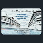 "Honeymoon Cruise Ships | Personalized Cabin Marker Magnet<br><div class=""desc"">This destination cruise vacation stateroom marker is completely personalized with the group cruise name, ship itinerary details, including the cruise ship name and sailing date. Reads Bride and Groom&#39;s Cabin with personalized names also. Against a colored pencil drawing of two cruise ships in port on the blue ocean waters. Completely...</div>"