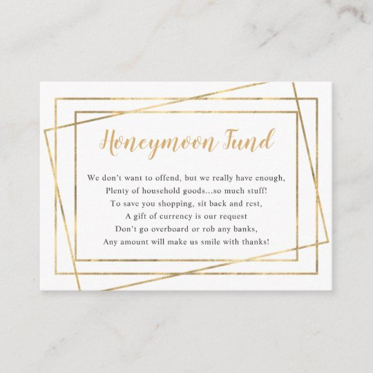 Honeymoon Fund Bridal Shower Or Wedding Enclosure Card