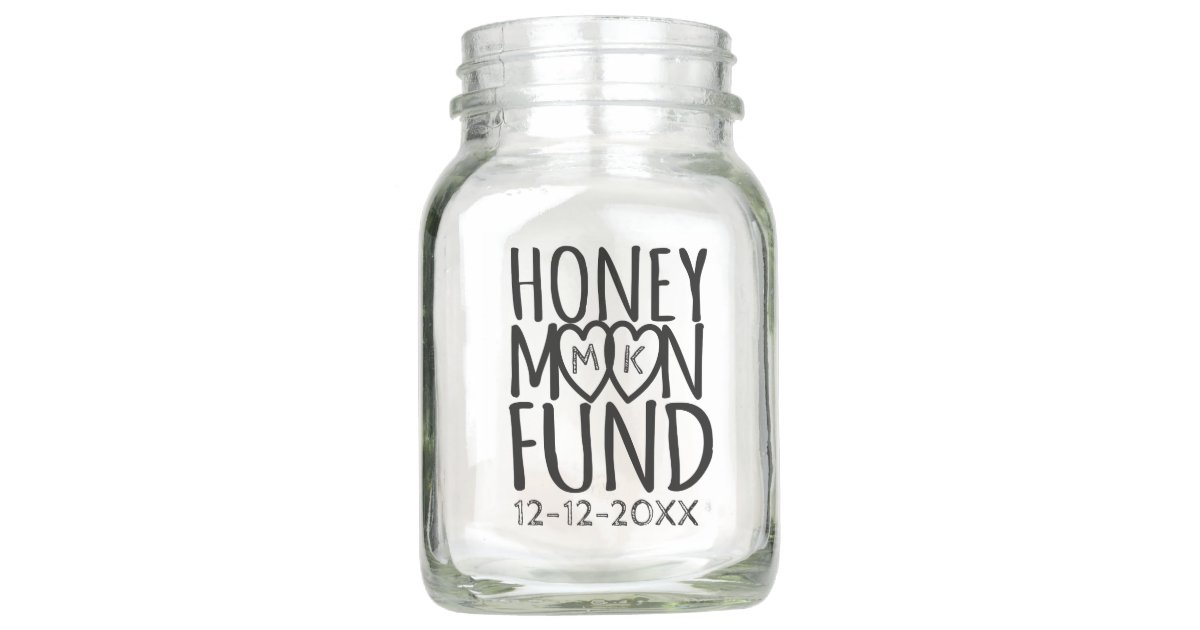 Honeymoon Fund Diy Wedding Mason Jar Zazzle Com