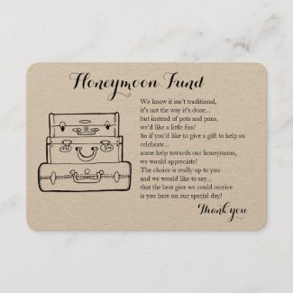 Honeymoon fund request wedding insert card