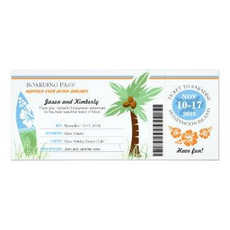 Honeymoon Gift Boarding Pass Palm Tree Surf Board Card