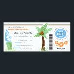 """Honeymoon Gift Boarding Pass Palm Tree Surf Board Invitation<br><div class=""""desc"""">Thinking of a creative way to give a gift towards a bride and grooms honeymoon. Here is a Boarding Pass to Honeymoon Island with a Palm Tree, Surf Board and Hibiscus Flowers. Colors are in Light Blue, Green and Orange. If you would like a different color scheme or any design...</div>"""