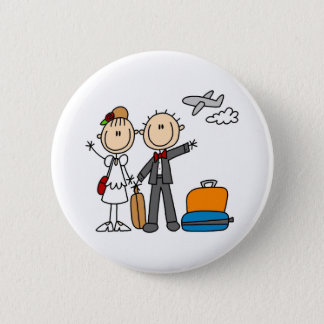 Honeymoon Time For The Bride And Groom Button