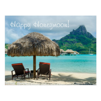 Honeymoon wish card with beach and two sunloungers