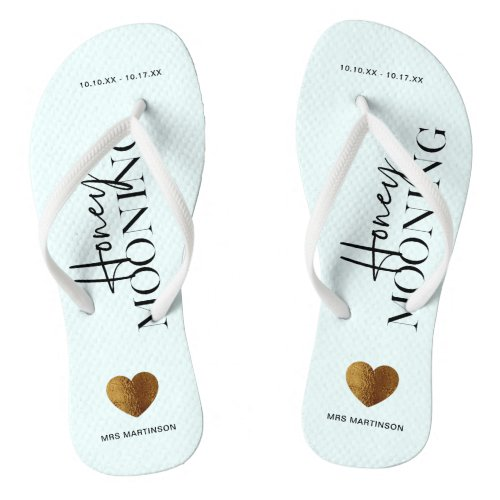 Honeymooning Blue and White with Name and Dates Flip Flops