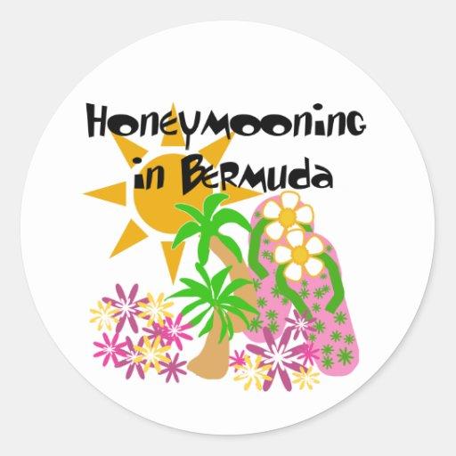 Honeymooning en Bermudas Pegatina Redonda