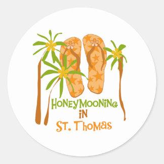 Honeymooning en el pegatina de St Thomas