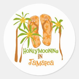Honeymooning en Jamaica Pegatina Redonda