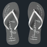 """Honeymooning Flip Flops<br><div class=""""desc"""">Modern,  hand lettered script calligraphy to let everyone know this isn't just a holiday. This is your honeymoon. Part of a collection.</div>"""