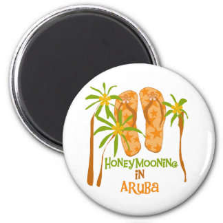 Honeymooning in Aruba 2 Inch Round Magnet