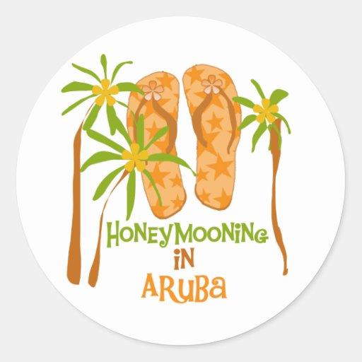 Honeymooning in Aruba Classic Round Sticker