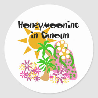 Honeymooning in Cancun Classic Round Sticker