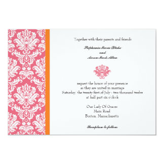 Honeysuckle and Coral Damask Wedding Invitation