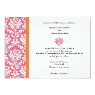 Honeysuckle and Coral Damask Wedding Invitation