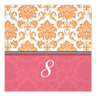 """Honeysuckle and Tangerine Damask Table Number 5.25"""" Square Invitation Card"""