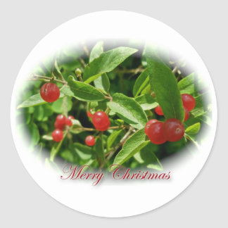 Honeysuckle Berries Christmas Stickers