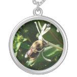 Honeysuckle Bumble Bee Round Pendant Necklace