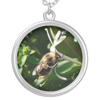 Honeysuckle Bumble Bee Round Pendant Necklace