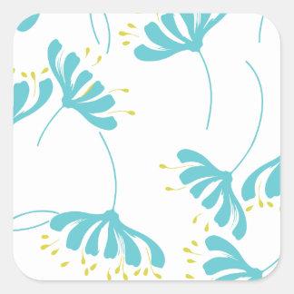 Honeysuckle Floral Pattern Square Sticker
