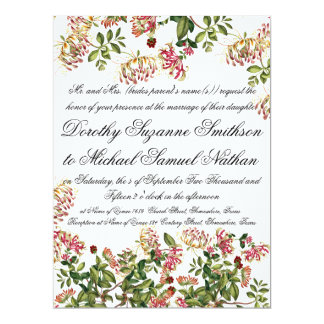 Honeysuckle Flower Floral Wedding Invitation
