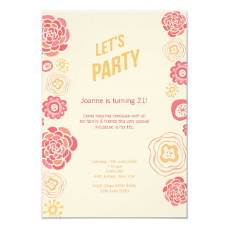 Honeysuckle Flowers Summer 21st Birthday Invite
