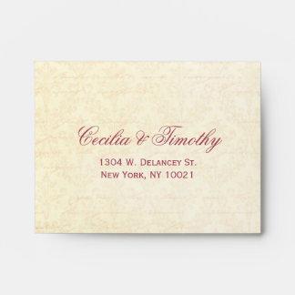 Honeysuckle & Ivory Damask: Wedding RSVP Linen A2 Envelope