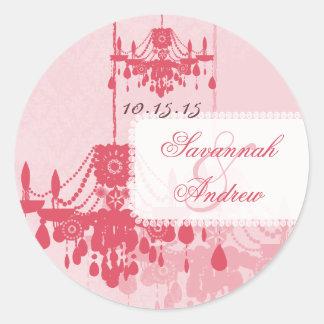 Honeysuckle Pink Damask Chandelier Stickers