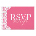 Honeysuckle Pink Damask RSVP card Personalized Invites
