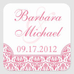 Honeysuckle Pink Damask Square Stickers