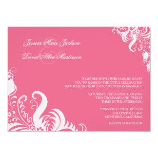 "Honeysuckle Pink Floral Accent Wedding Invitation 5.5"" X 7.5"" Invitation Card"