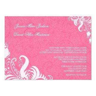 "Honeysuckle Pink Floral Wedding Invitation 5.5"" X 7.5"" Invitation Card"