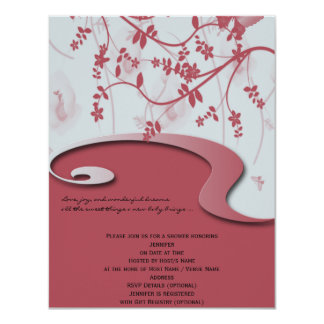 Honeysuckle Pink Garden Baby Shower Invitation