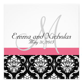 Honeysuckle Pink Monogram Wedding Invitation