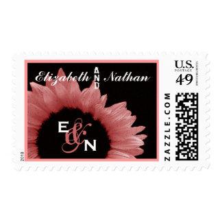 Honeysuckle Pink Sunflower Wedding Stamps