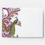 Honeysuckle Pink Vintage Peacock Wedding Envelope
