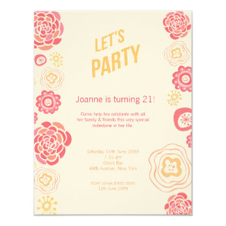 Honeysuckle Spring Let's Party Birthday Invite