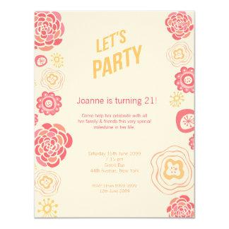 Honeysuckle Spring Let's Party Birthday Invite