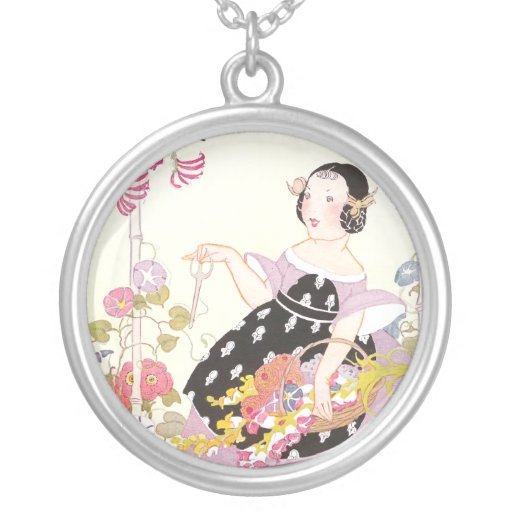 Honeysuckle Vine and Girl with Cut Flowers Pendant