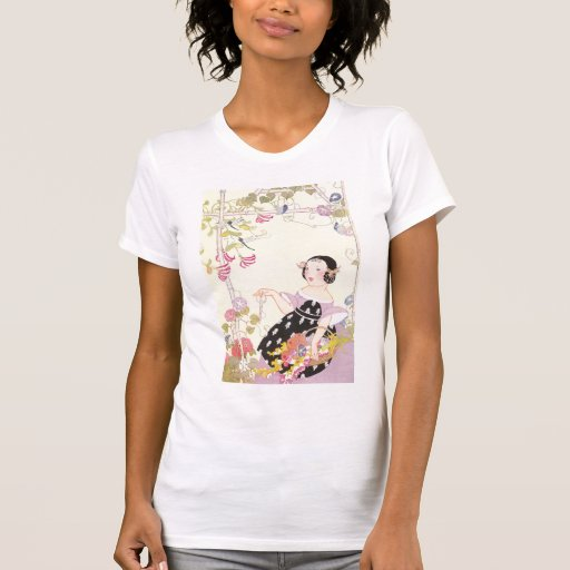 Honeysuckle Vine and Girl with Cut Flowers T-Shirt