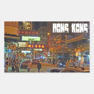 Hong Kong at night rectangle sticker